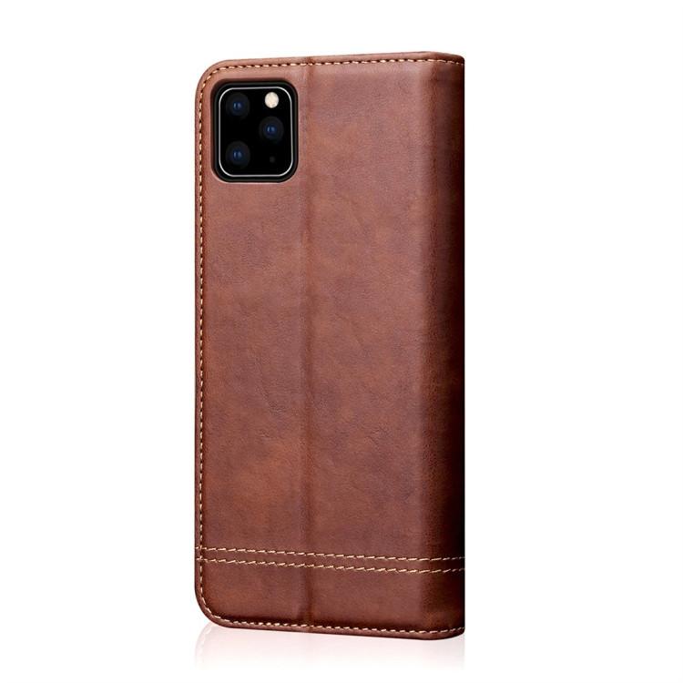 Кожаный чехол -книжка Retro Texture Wallet для iPhone 11 Pro- коричневый