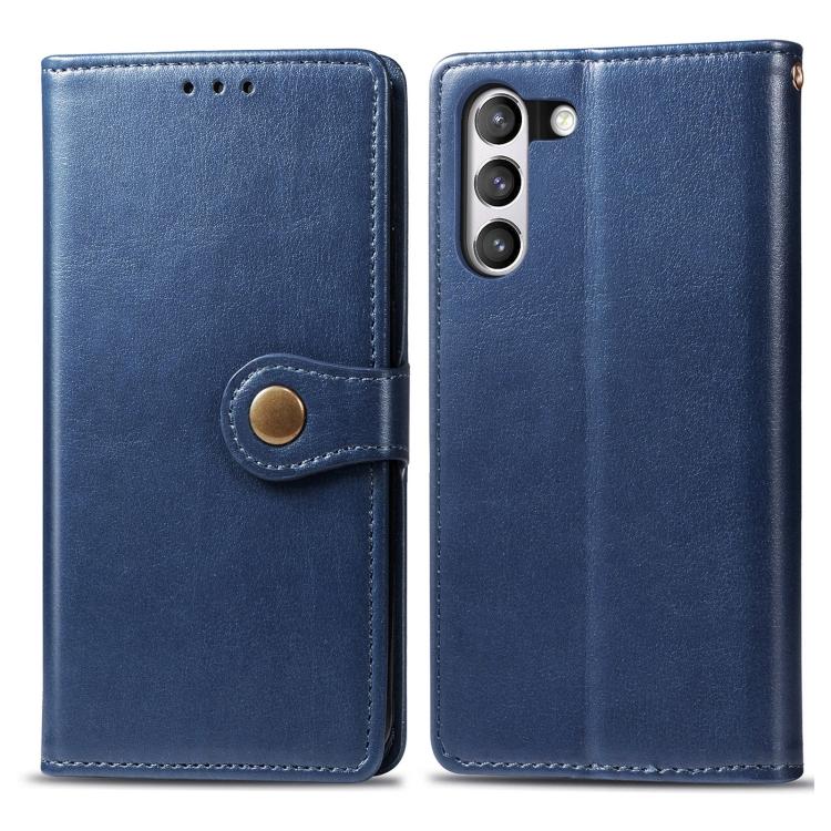 Чехол- книжка Retro Solid Color на Samsung Galaxy S21 FE  - синий