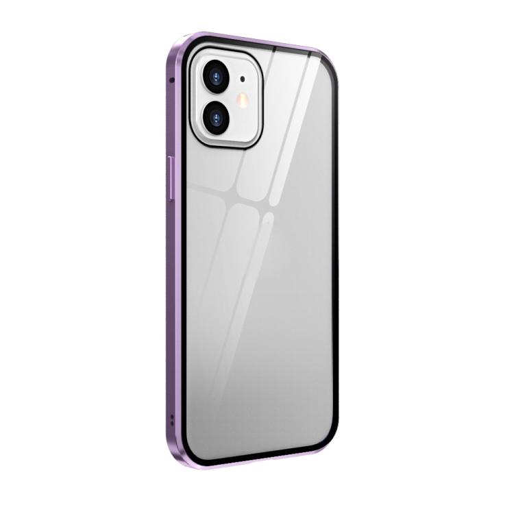 Двухсторонний магнитный чехол Adsorption Metal Frame для iPhone 12 mini - фиолетовый