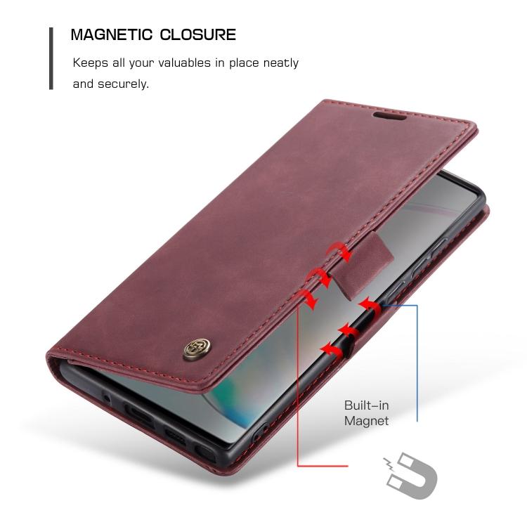 Чехол-книжка с магнитной защелкой для Самсунг Гелекси Нот 10 Лайт винно-красный