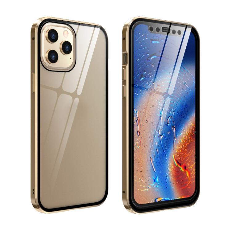 Двухсторонний магнитный чехол Adsorption Metal Frame для iPhone 12 Pro Max - золотой
