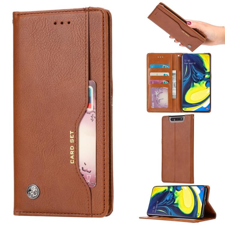 Чехол-книжка Knead Skin Texture на Samsung Galaxy A80- коричневый