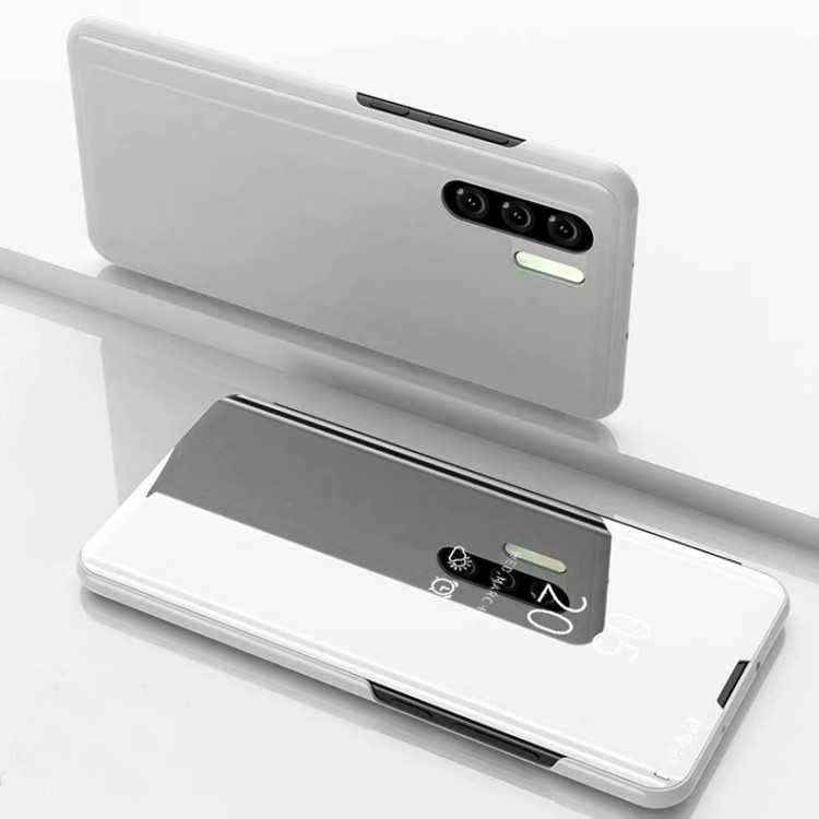 Чехол книжка Clear View на Samsung Galaxy Note 10+Plus Electroplating Mirror- серебристый