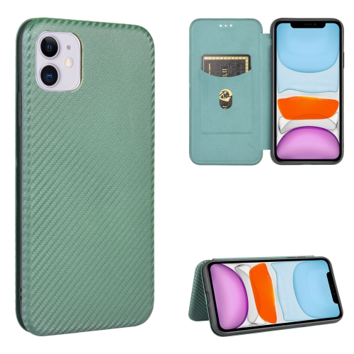 Чехол-книжка Carbon Fiber Texture на Айфон 12 Мини - зеленый
