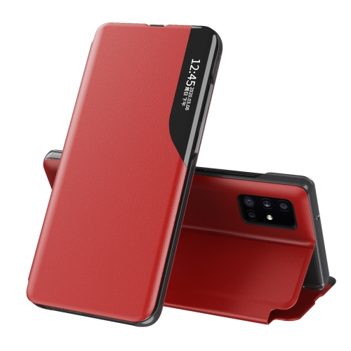 Красный кожаный чехол-книжка для Самсунг Гелекси М31с
