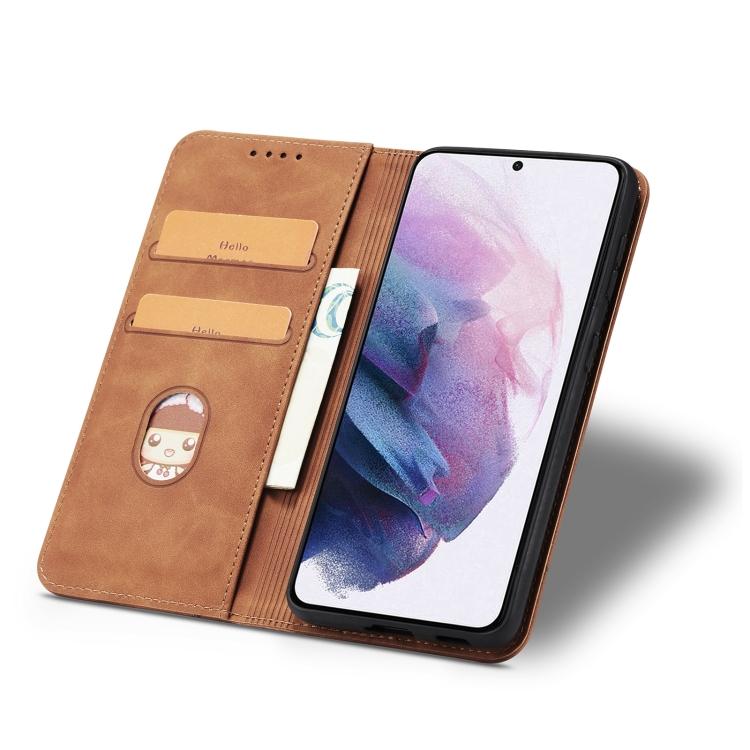 Чехол-книжка коричневого цвета со слотами для Самсунг Галакси С21