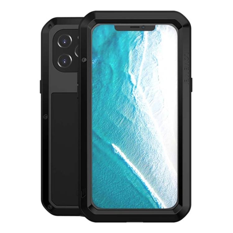 Влагозащитный противоударный чехол LOVE MEI Metal для iPhone 12 Pro Max - черный