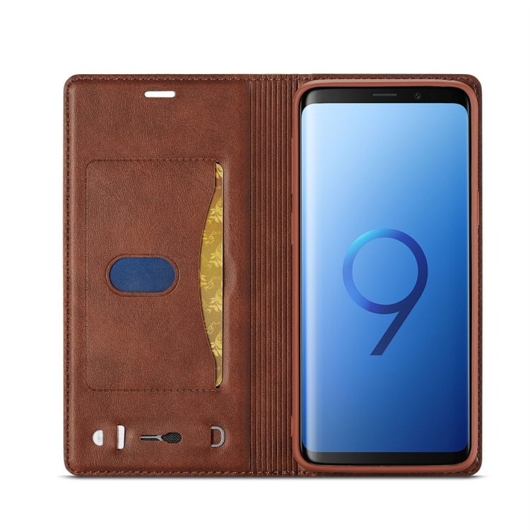 Чехол-книжка с слотами под кредитки для Самсунг Гелекси С9 коричневого цвета
