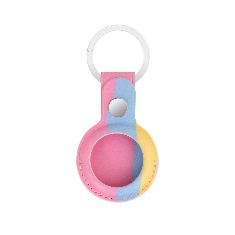 Кожаный брелок Rainbow с кольцом для AirTag - розовый