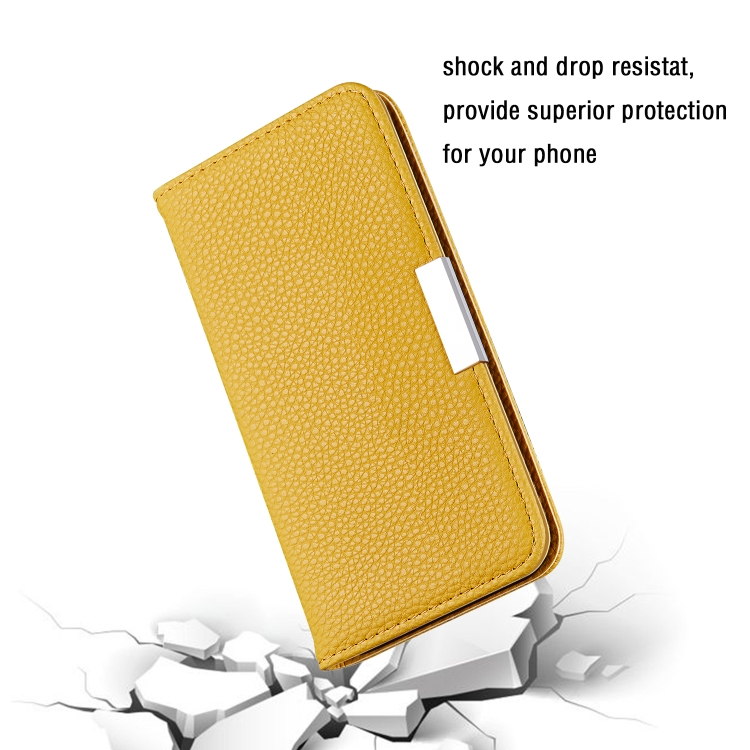 Желтый чехол-книжка Litchi Texture на iPhone 12 Pro Max