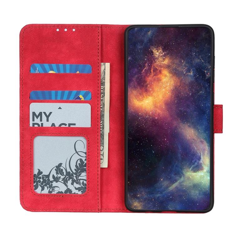 Кожаный чехол-книжка с хранением карт для Redmi Note 10 Pro красный