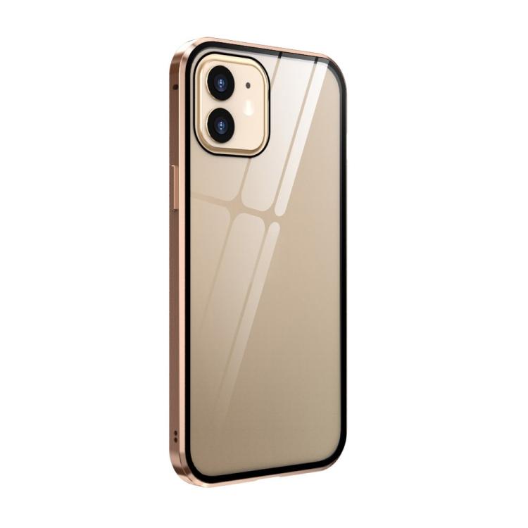 Двухсторонний магнитный чехол Adsorption Metal Frame для iPhone 12 mini - золотой