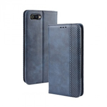 Чехол- книжка Magnetic Buckle Retro Crazy Horse Texture на Realme C2 - синий