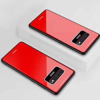 Акриловый чехол Lycra Series Eye Protection на Samsung Galaxy S10+ Plus-красный