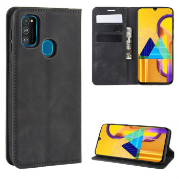 Чехол-книжка Retro-skin Business Magnetic Suction на Samsung Galaxy M21/M30s - черный