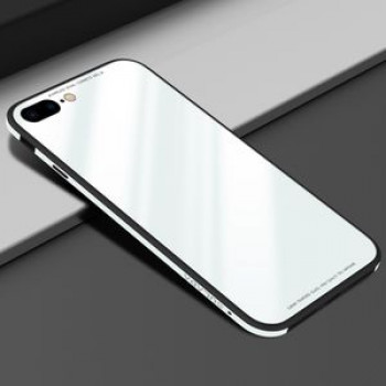 Стеклянный чехол SULADA Metal Frame Toughened Glass Case для iPhone 8 Plus / 7 Plus -белый