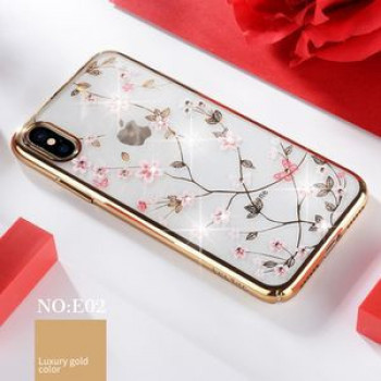 Чехол SULADA Flower Pattern Plating Diamond на iPhone XS / X-золотой