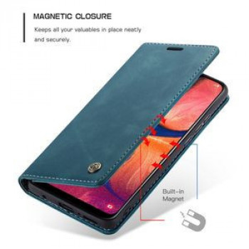 Кожаный чехол-книжка CaseMe-013 Multifunctional Retro Frosted Horizontal Flip на Samsung Galaxy A20 / A30-синий