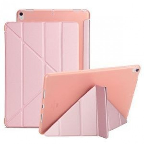 Чехол- книжка Solid Color Trid-fold + Deformation Viewing Stand на iPad Air 2019/Pro 10.5 - фламинго
