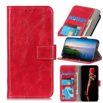 Чехол-книжка Magnetic Retro Crazy Horse Texture на Xiaomi Redmi 9T/Poco M3 - красный