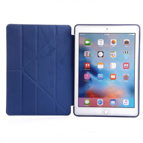Чехол- книжка Solid Color Trid-fold + Deformation Viewing Stand на iPad 9.7 2017 / 2018 - нави