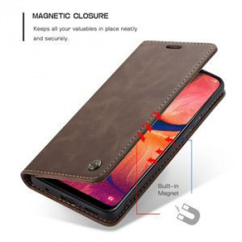 Кожаный чехол-книжка CaseMe-013 Multifunctional Retro Frosted Horizontal Flip на Samsung Galaxy A20 / A30-кофейный