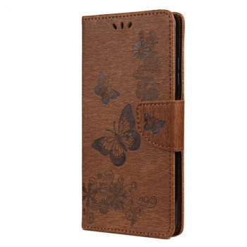 Чехол-книжка Butterflies Embossing на Xiaomi Mi 10T Lite - коричневый