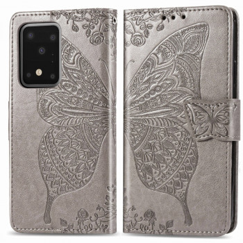 Чехол-книжка Butterfly Love Flower Embossed  на Samsung Galaxy S20 Ultra- Lanyard(Gray)