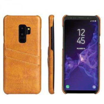 Кожаный чехол Fierre Shann Retro Oil Wax Texture на Samsung Galaxy S9 Plus-желтый