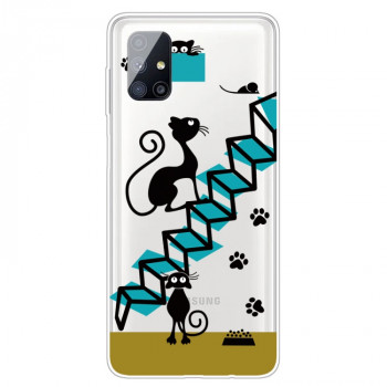 Ударозащитный чехол Painted Transparent на Samsung Galaxy M51 - Stair Cat