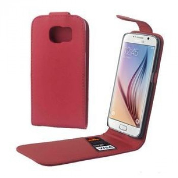 Кожаный флип чехол Colorful Vertical Flip Magnetic Button на Samsung Galaxy S6 / G920  (Red)