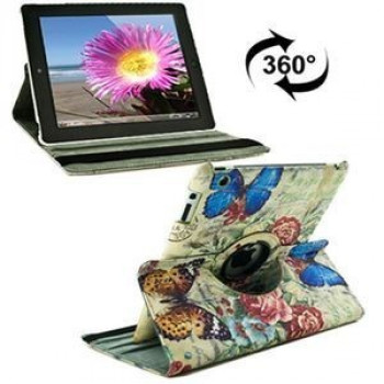 Чехол 360 Degree Rotation Butterfly Love Flower Pattern на  iPad 4 / New iPad (iPad 3) / iPad 2