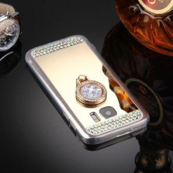 Зеркальный чехол Diamond Encrustead Electroplating Mirror на Samsung Galaxy S7 Edge/G935- золотой