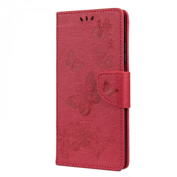 Чехол-книжка Butterflies Embossing на Xiaomi Mi 10T Lite - красный