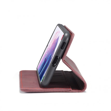 Чехол-книжка CaseMe-013 Multifunctional на Samsung Galaxy S21 Plus - винно-красный