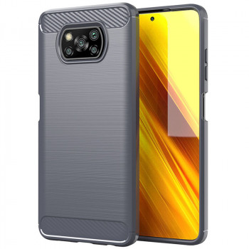 Чехол Brushed Texture Carbon Fiber на Xiaomi Poco X3 / Poco X3 Pro - серый