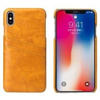 Кожаный чехол Fierre Shann Retro Oil Wax Texture на iPhone XS Max желтый