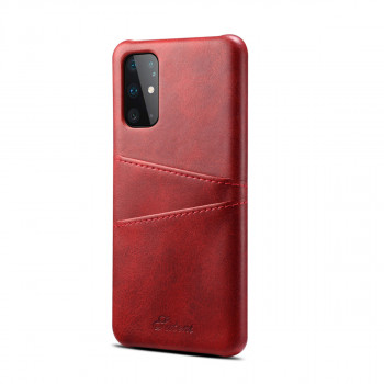 Кожаный чехол Fierre Shann Retro Oil Wax Texture на Samsung Galaxy S20-красный
