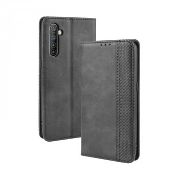 Кожаный чехол- книжка Magnetic Buckle Retro Crazy Horse Texture на Realme XT/K5/X2 - черный