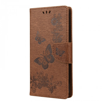 Чехол-книжка Butterflies Embossing на Realme 7 Pro - коричневый
