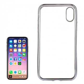 Чехол на iPhone X Electroplating Side серебристый