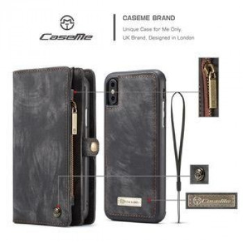 Чехол-кошелек CaseMe 008 Series Folio Zipper Wallet Style на iPhone Xs Max 6.5 - черный