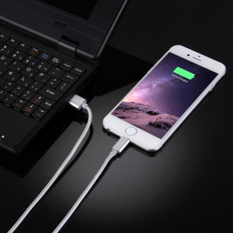 Кабель HAWEEL 1m Nylon Woven Metal Head 3A 8 Pin to USB 2 Sync Data Charging Cable на iPhone XR / iPhone XS MAX / iPhone X & XS / iPhone 8 & 8 Plus / iPhone 7 & 7 Plus / iPhone 6 & 6s & 6 Plus & 6s Plus / iPad серебристый