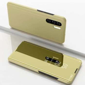 Чехол книжка Clear View на Samsung Galaxy Note 10 +Plus Electroplating Mirror-золотой