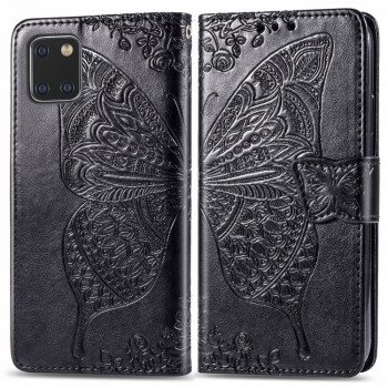 Чехол-книжка Butterfly Love Flowers Embossing на Samsung Galaxy Note10 Lite / A81 / M60s -черный