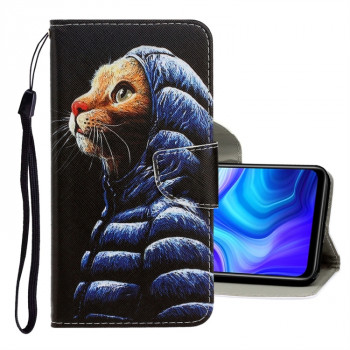 Чехол-книжка Colored Drawing на Xiaomi Redmi 10X / Note 9 - Down Jacket Cat