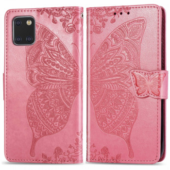 Чехол-книжка Butterfly Love Flowers Embossing на Samsung Galaxy Note10 Lite / A81 / M60s -розовый