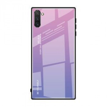 Стеклянный чехол Gradient Color Glass Case на Samsung Galaxy Note10+Plus- розовый