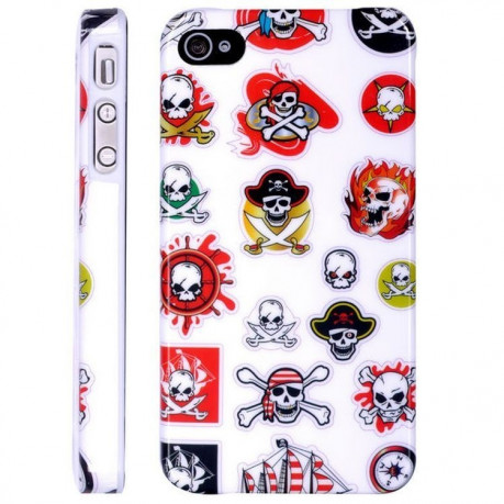 Чехол Skull and Crossboness Pattern Plastic на iPhone 4/ 4S