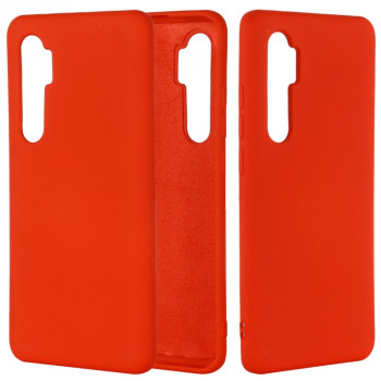 Чехол Solid Color Liquid Silicone на Xiaomi Mi Note 10 Lite - красный